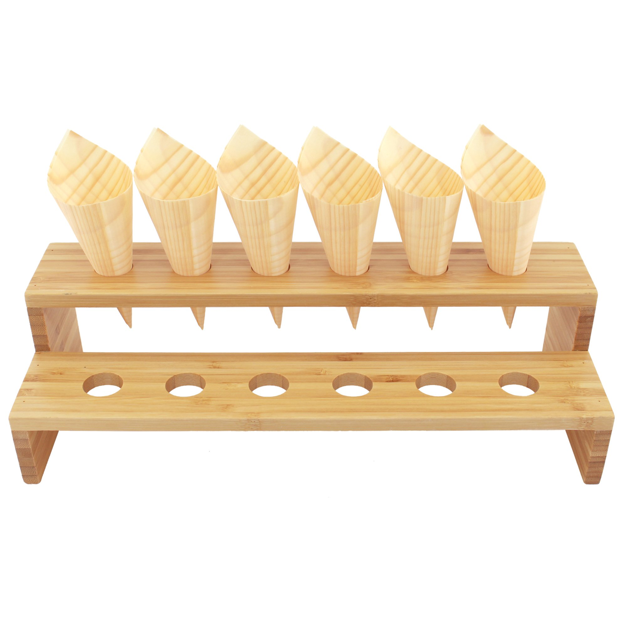 BambooMN 13'' x 4.9'' x 3.5'' Natural Bamboo Straight Multi Level Food Cone Display Tamaki Stand for Restaurants, Catered Events, Party or Buffets, Holds up to 12 Cones - 3 Pieces