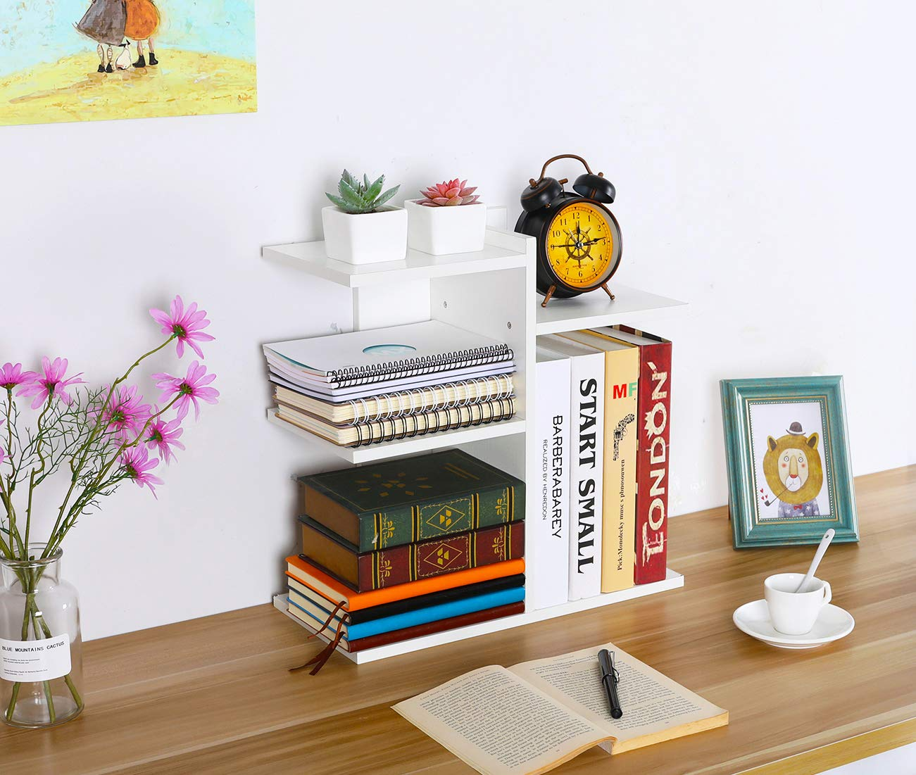 PAG Wood Desktop Bookshelf Assembled Countertop Bookcase Literature Holder Accessories Display Rack Office Supplies Desk Organizer, White by PAG (Image #1)