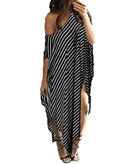 91d1d783a4c8 OppaaL Women Asymmetrical Striped Long Dress Casual Oversized Round Neck  Sundress
