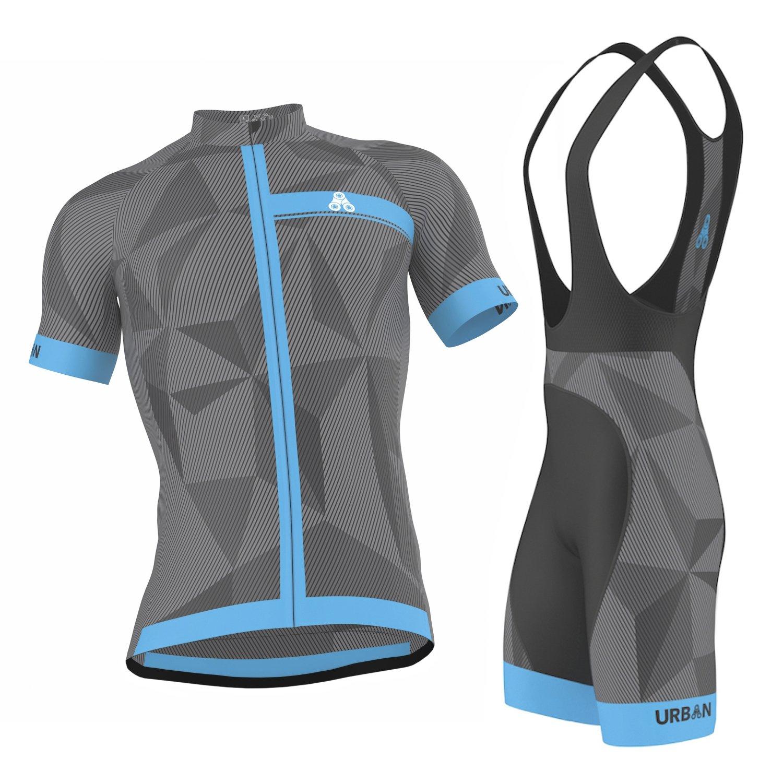 Urban Cycling Apparel APPAREL メンズ B0757FVKHY Large|Elite Graphite Jersey & Bib Shorts Set Elite Graphite Jersey & Bib Shorts Set Large