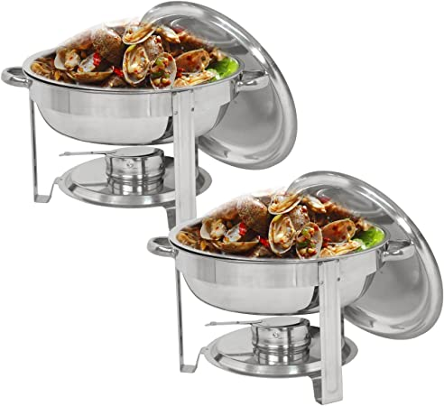 SUPER DEAL Upgraded 5 Qt Full Size Stainless Steel Chafing Dish Round Chafer Buffet Catering Warmer Set w Food and Water Pan, Lid, Solid Stand and Fuel Holder