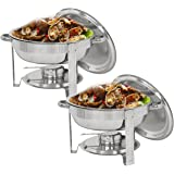 SUPER DEAL Pack of 2 Round Chafing Dish 5 Quart Stainless Steel Full Size Tray Buffet Catering, Dinner Serving Buffer Warmer Set