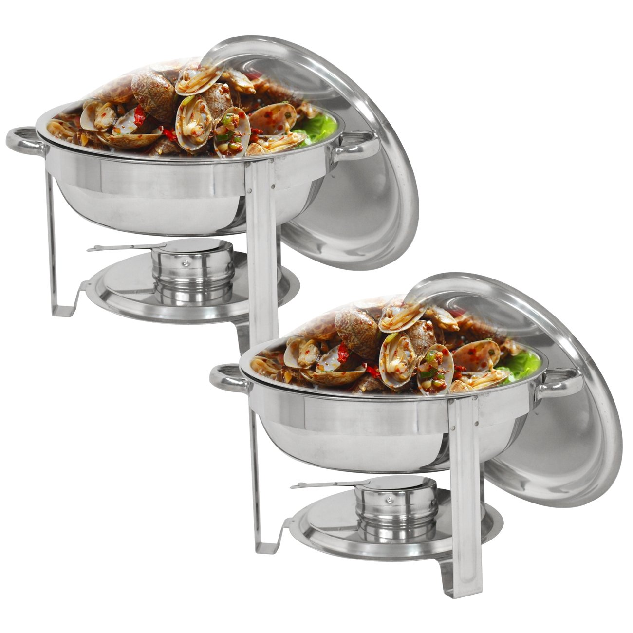 Super Deal Pack of 2 Round Chafing Dish 5 Quart Stainless Steel Full Size Tray Buffet Catering, Dinner Serving Buffer Warmer Set (2)