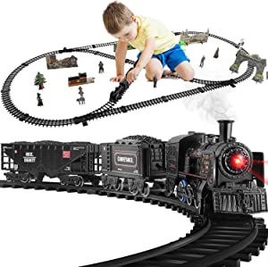 Baby Home Train Set ,Electric Train Toy for Boys Girls w/Smokes, Lights & Sound, w/Steam Locomotive Engine, Cargo Cars & Tracks(2 Carriages)