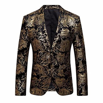 Mailat Men's Outwear Coat Jacket, Men's Dress Floral Suit Notched Lapel Slim Fit Stylish Blazer Coat Jacket