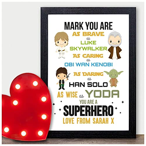 PERSONALISED Valentines Day Gifts STARWARS Boyfriend Husband Presents for Him A4 A3 Prints or 18mm Wooden Blocks Birthday PERSONALISED ANY NAMES for Anniversary Black or White Framed A5