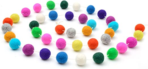 2 Meters Long Pom Pom Garland Wool Felt Ball String Wall Hanging Ornaments for Kids Room Birthday Party Decoration