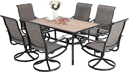 Sophia William Patio Dining Set 7 Pieces Metal Furniture Set Outdoor