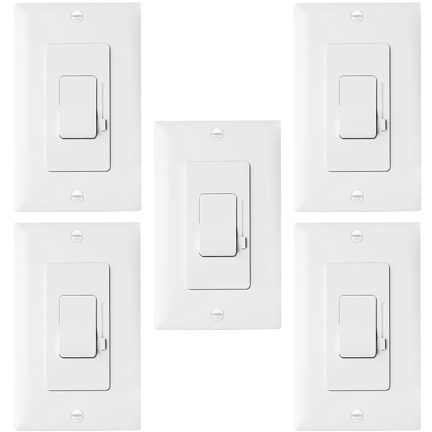 Enerlites Led Dimmer Switch 3 Way Universal Lighting 2 Switches Control For Lights Cfl Incandescent Halogen Wall Plates Included