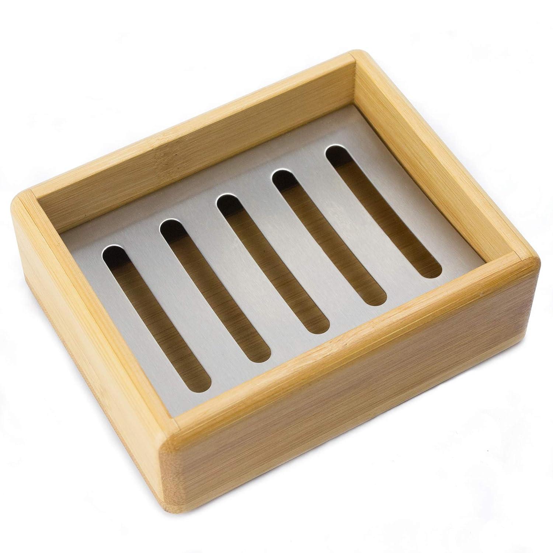 Bamobo Bambus Seifenschale mit Abtropfgitter aus Edelstahl f/ür Bad K/üche und Toilette Nat/ürliche ECO Bambus Holz Seifenablage Bambus Seifenhalter Seifen Schale