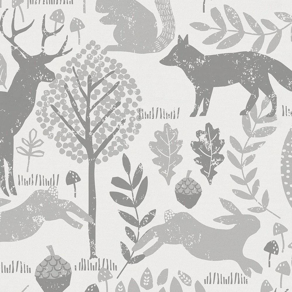 Carousel Designs Gray Woodland Animals Fabric By The Yard