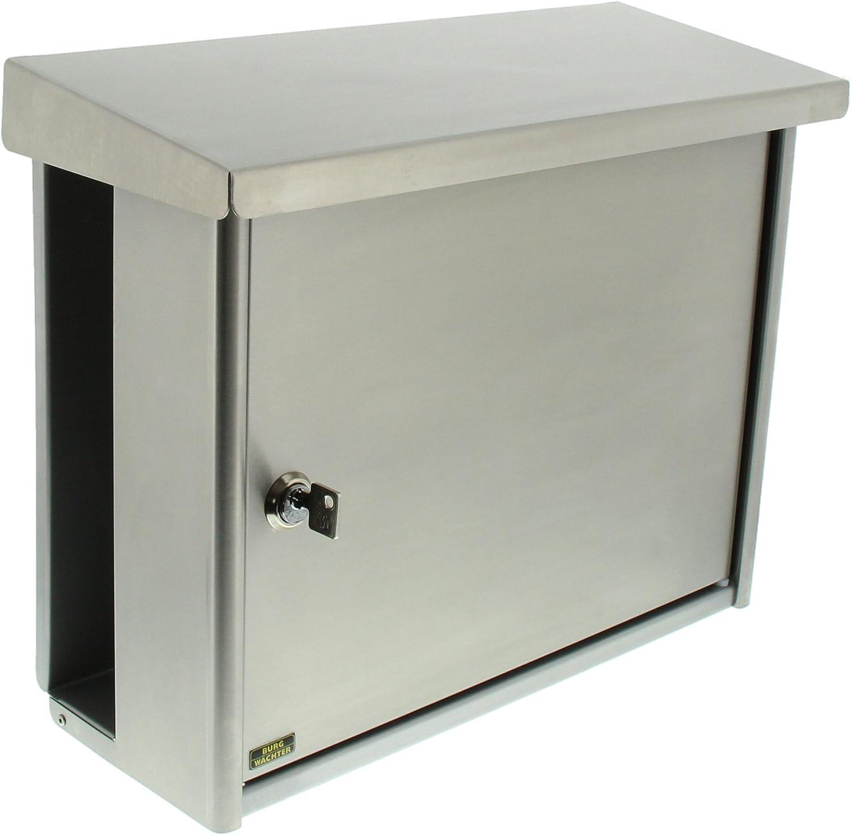 BURG-WAE. 895102 Buzón de Acero Inoxidable con Portaperiódicos Integrado, Gris