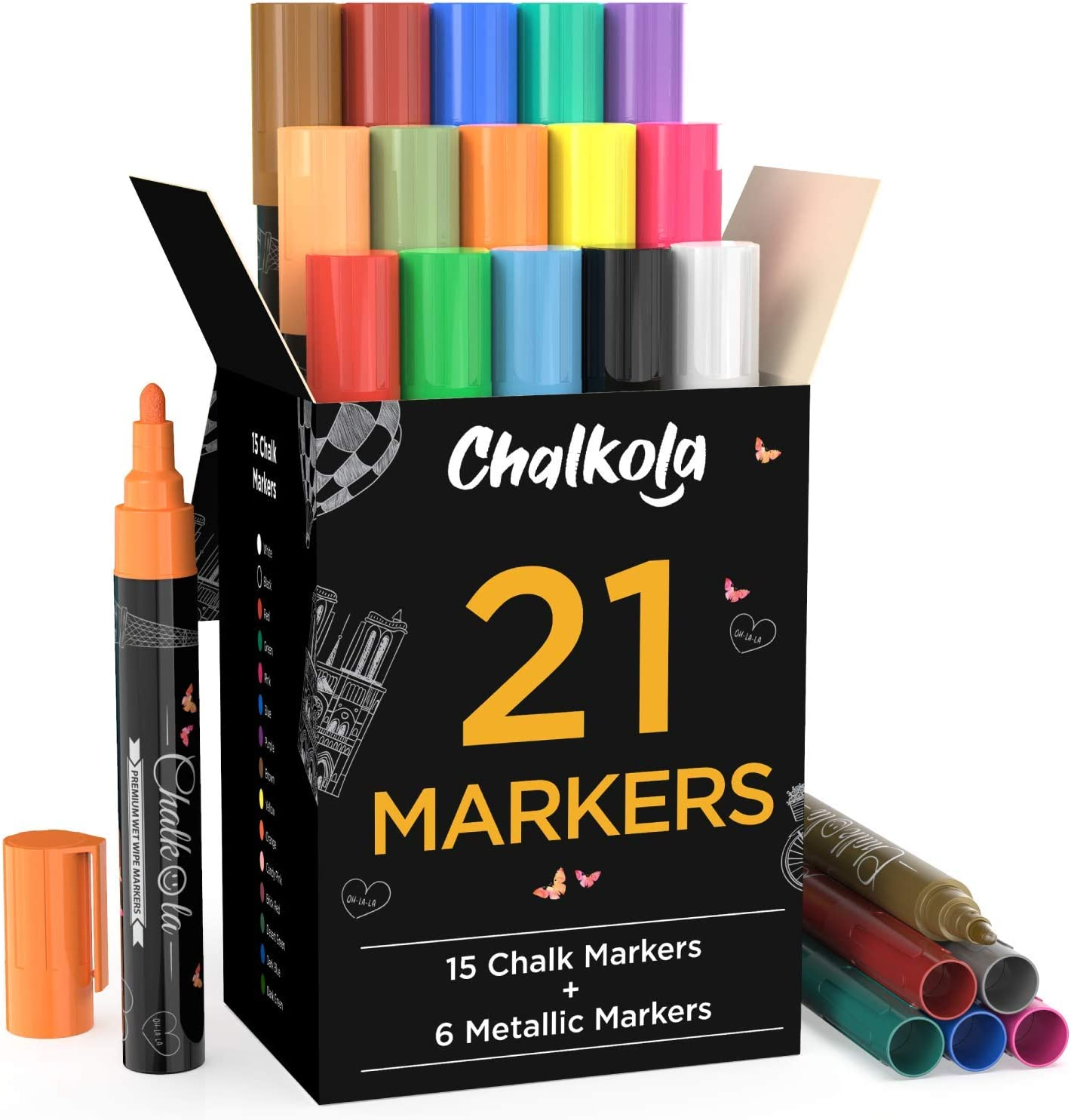 Chalk Markers & Metallic Colors (Pack of 21) Neon Chalk Pens - For Chalkboard, Blackboards, Window, Labels, Bistro, Glass - Wet Wipe Erasable - 6mm Reversible Bullet & Chisel Tip