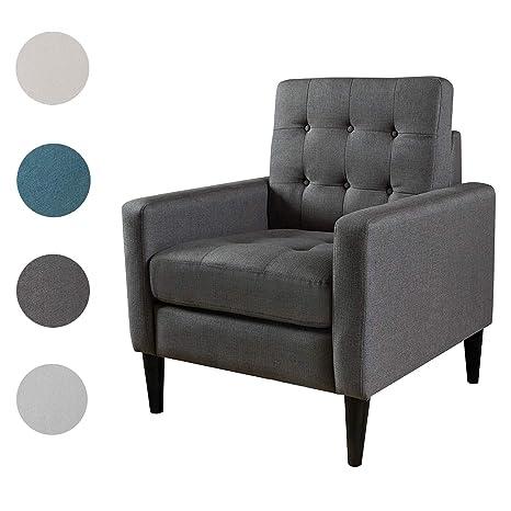 Enjoyable Top Space Mid Century Modern Accent Chair Single Sofa Living Room Furniture Arm Chair Home Seat Dark Grey Machost Co Dining Chair Design Ideas Machostcouk