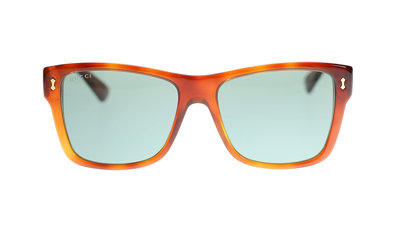 a4a1da0cc5 Gucci Men s Sunglasses GG0052S 002 Havana Green Lens Rectangular 55MM   Amazon.co.uk  Clothing