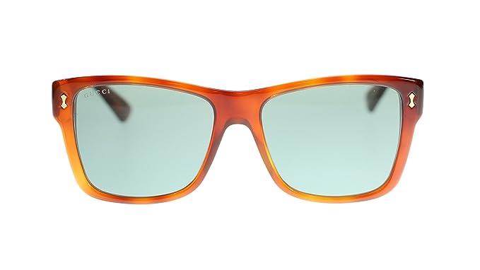 2a3f263fc0 Gucci Men s Sunglasses GG0052S 002 Havana Green Lens Rectangular 55MM