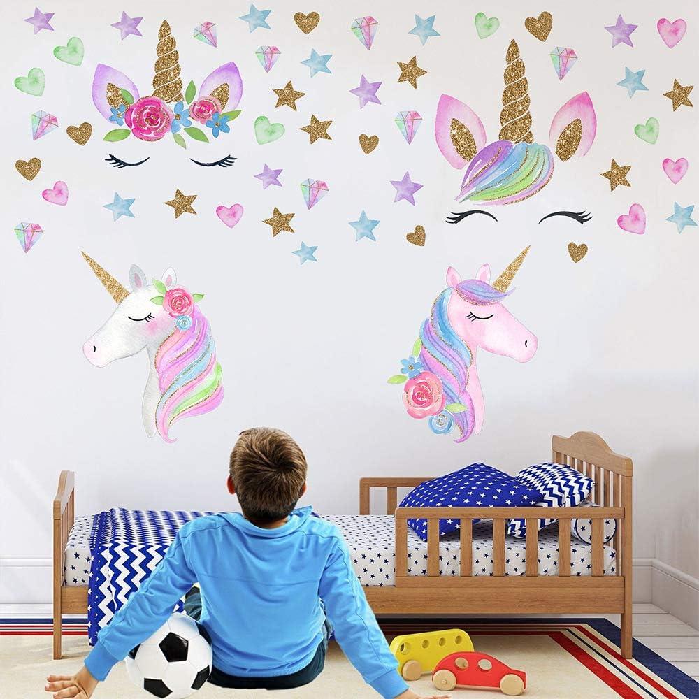 LABOTA 4 Pi/èces Stickers Muraux Licorne pour Enfants Couleurs B 152PCS Autocollants Muraux Licorne DIY Vinyle pour D/écoration Chambre de Filles Anniversaire No/ël