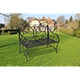 HLC Metal Antique Butterfly Garden Bench Outdoor Double Seat with Decorative Butterfly Cast Iron Backrest