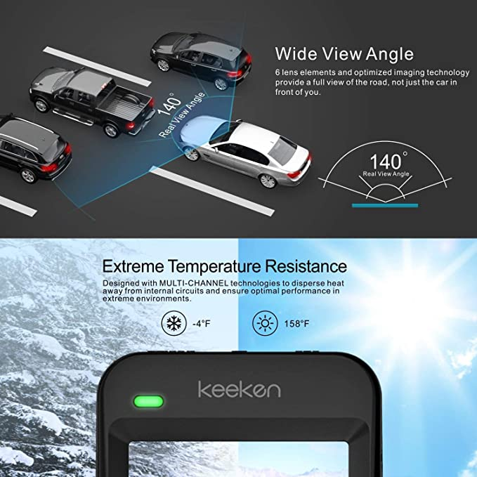 Keeken Dash Camera Car Dash Cam Recorder Dashboard Camera 4K HD 2160P WDR Night Vision G Sensor Wide Angle Lens Loop Recording Camera