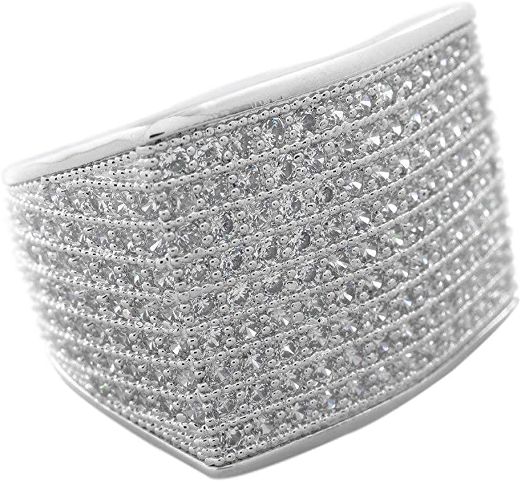 18k Black Gold 19mm ICED OUT 360 Simulated Diamond Band MICROPAVE Mens Ring