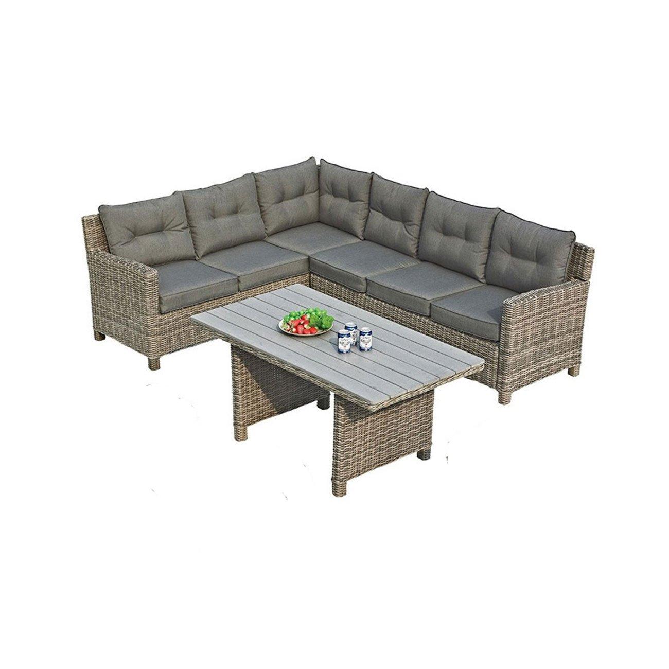 Gartenlounge OUTLIV. Minesota Dining-Loungeset links 3-teilig Geflecht Kubu / Kissen Sand 700016-835904