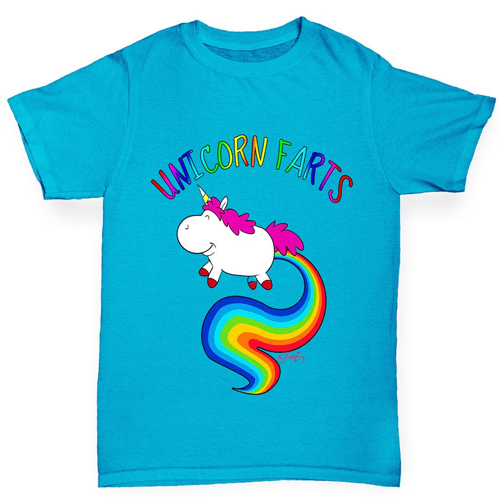 Rainbow Unicorn Farts Uni-Farts Boy\'s Printed Cotton T-Shirt with Unique Design