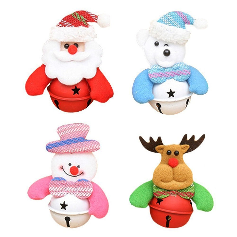 HMILYDYK Fashion Christmas Tree Decoration Bells Holiday Ornaments Wedding Party Hanging Pendant Jingle Bell Set Xmas Home Decor 4 Pack