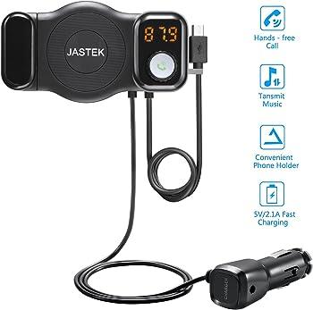 Jastek FM Transmitter Bluetooth Receiver and Car Phone Mount