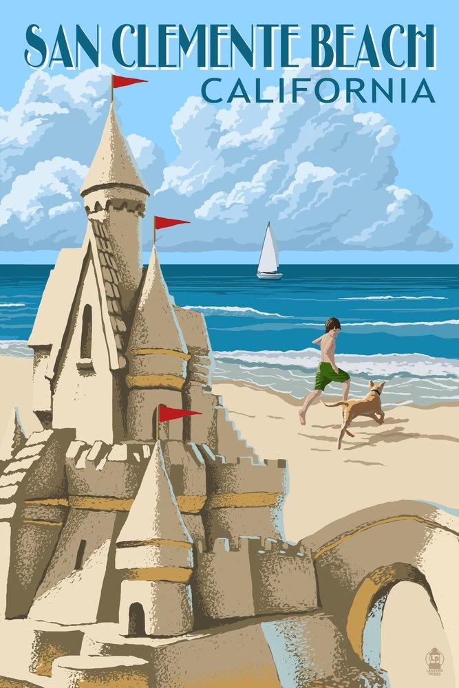 San Clemente Beach , California – Sand Castle 36 x 54 Giclee Print LANT-52098-36x54 B017EA1K6G  36 x 54 Giclee Print