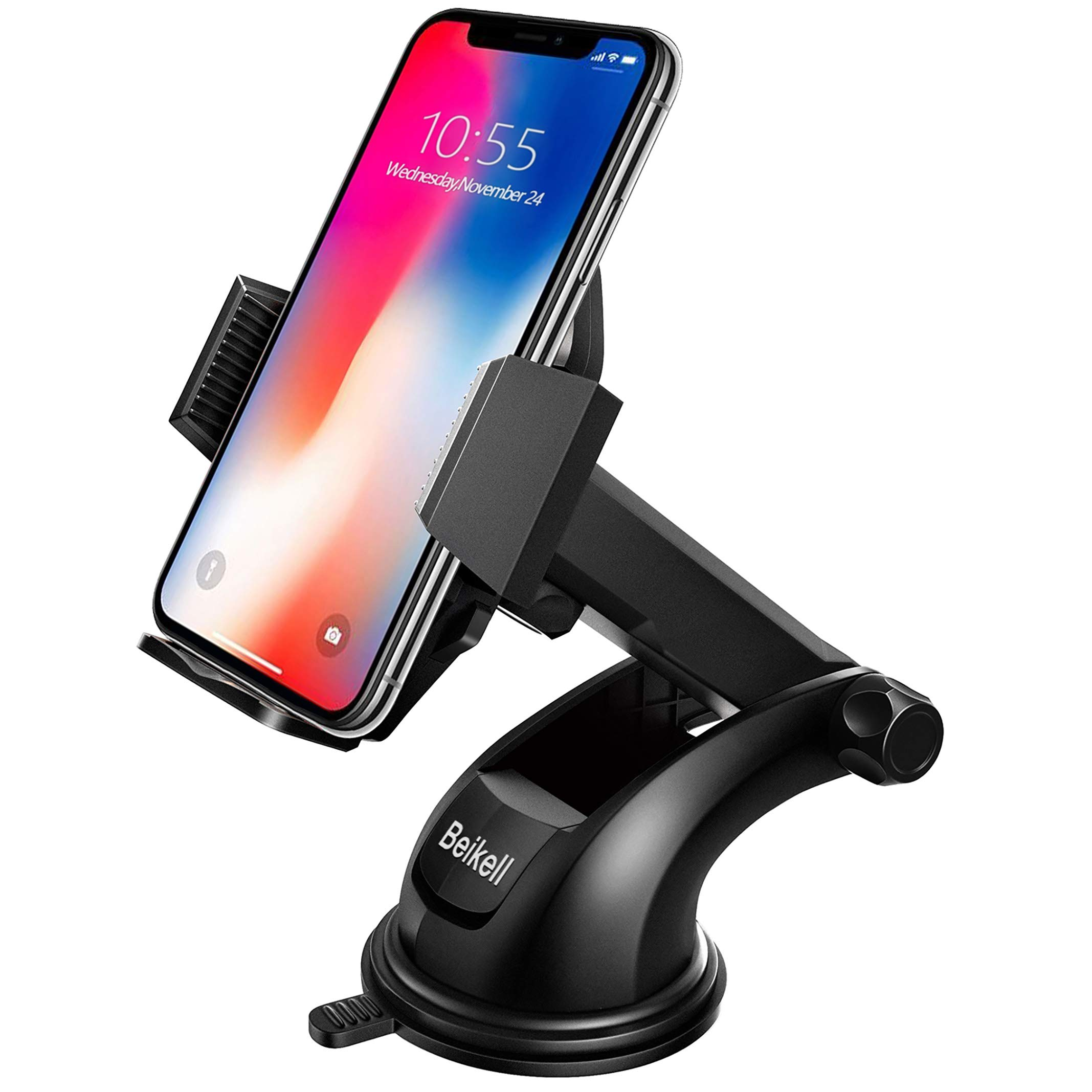 Beikell Car Phone Holder, Adjustable Car Phone Mount Cradle 360° Rotation - Phone Holder for Car with One Button Release…