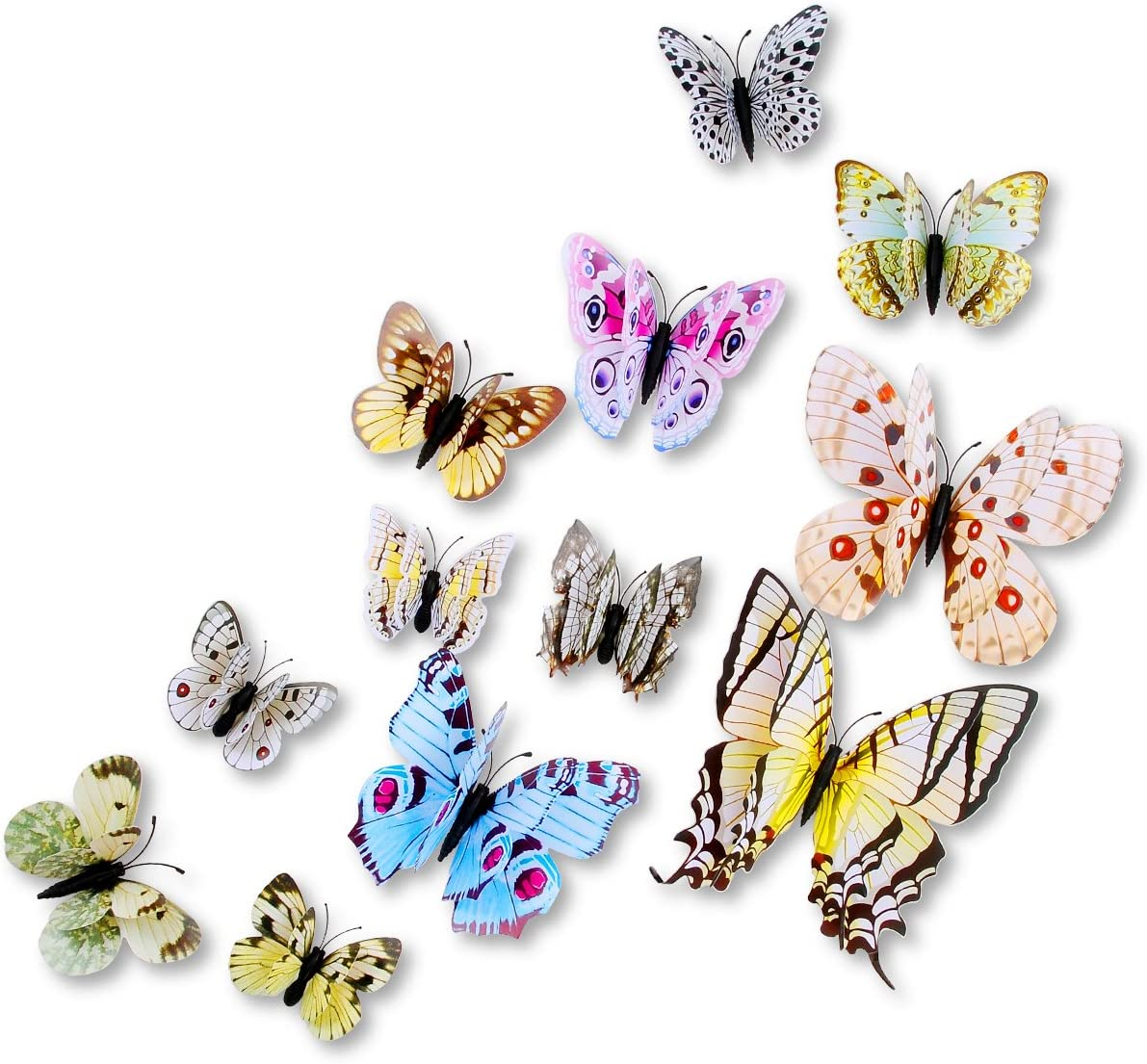 DAGOU Mixed of 12PCS 3D Pink Butterfly Wall Stickers Decor Art Decorations¡ (White)