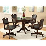3-in-1 Oak Finished Wood Poker, Pool, Game, Dining Table and 4 Chairs Set