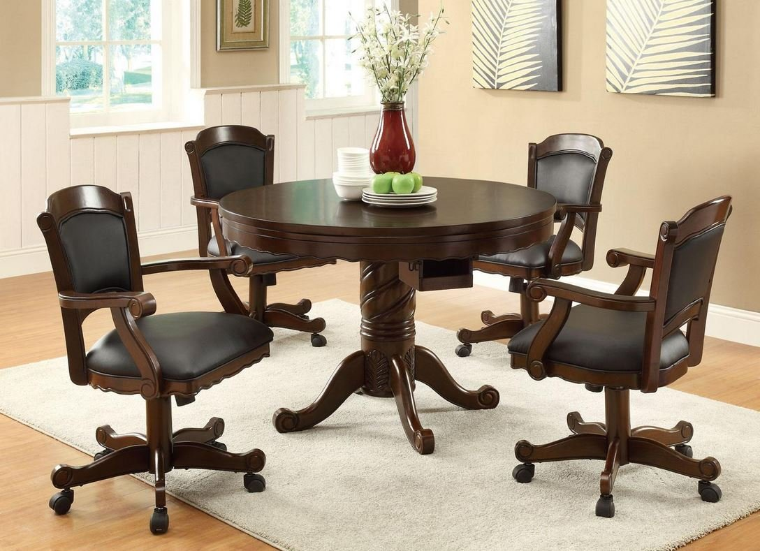 Amazon.com Three In one Chestnut Poker / Bumper Pool / Dining Set by Coaster Furniture Kitchen u0026 Dining & Amazon.com: Three In one Chestnut Poker / Bumper Pool / Dining Set ...