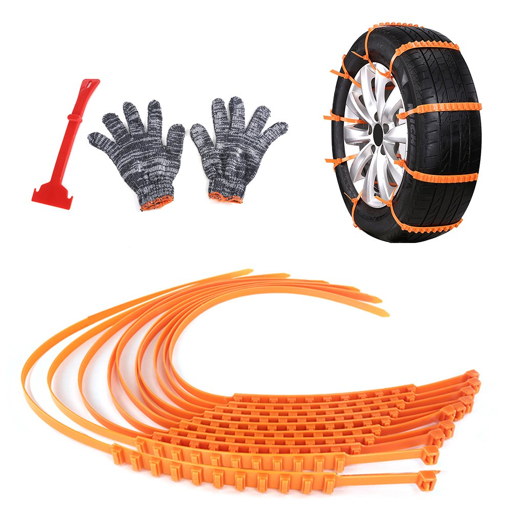 Luerme 10 PCS Car Tire Anti-skid Chain Snow Chains Tire Anti-slip Chain with Snow Shovel and Anti-skid Gloves for Sand Road Snow Road