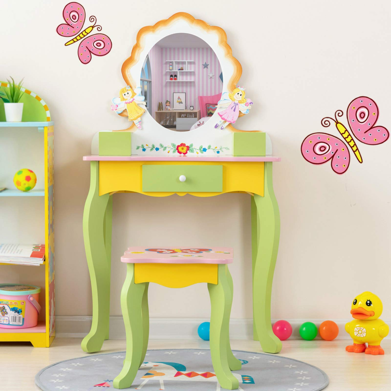 mecor Kids Vanity Set with Mirror,Little Girls Princess Makeup Dressing Table with Stool/Drawer,Hand Painted Vanity Desk for Children Yellow&Green by mecor