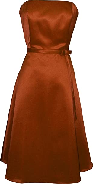 Amazon.com: 50s Vestido De Dama De Satén dama de honor sin ...