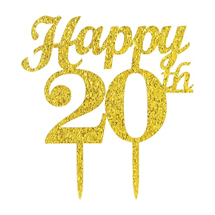 Amazon Gold Happy 20th Birthday Cake Topper Wedding