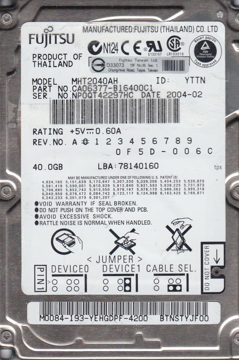 Amazon.com: Fujitsu Mobile mht2040ah – Disco duro de 40 GB ...