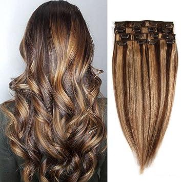 Amazon Com Human Hair Extensions Clip In Hair Medium Brown Dark