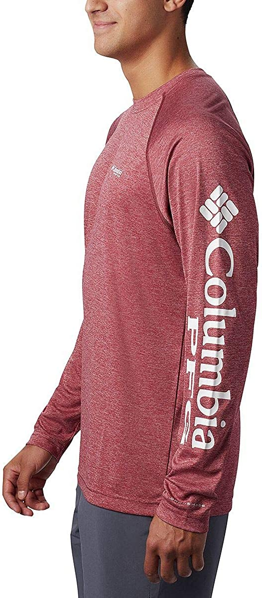 Moisture Wicking Columbia Mens Terminal Tackle Heather Long Sleeve Sun Shirt
