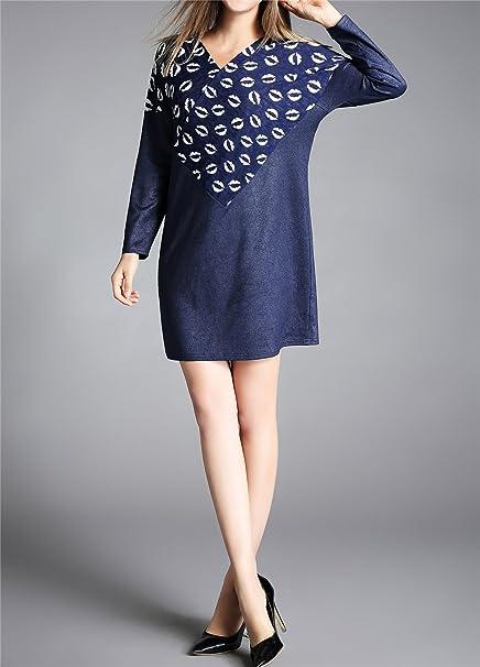 a4712718e85 Luna et Margarita Robe Fluide Portefeuille 48 Bleue Manche Longue Imprimée   Amazon.fr  Vêtements et accessoires
