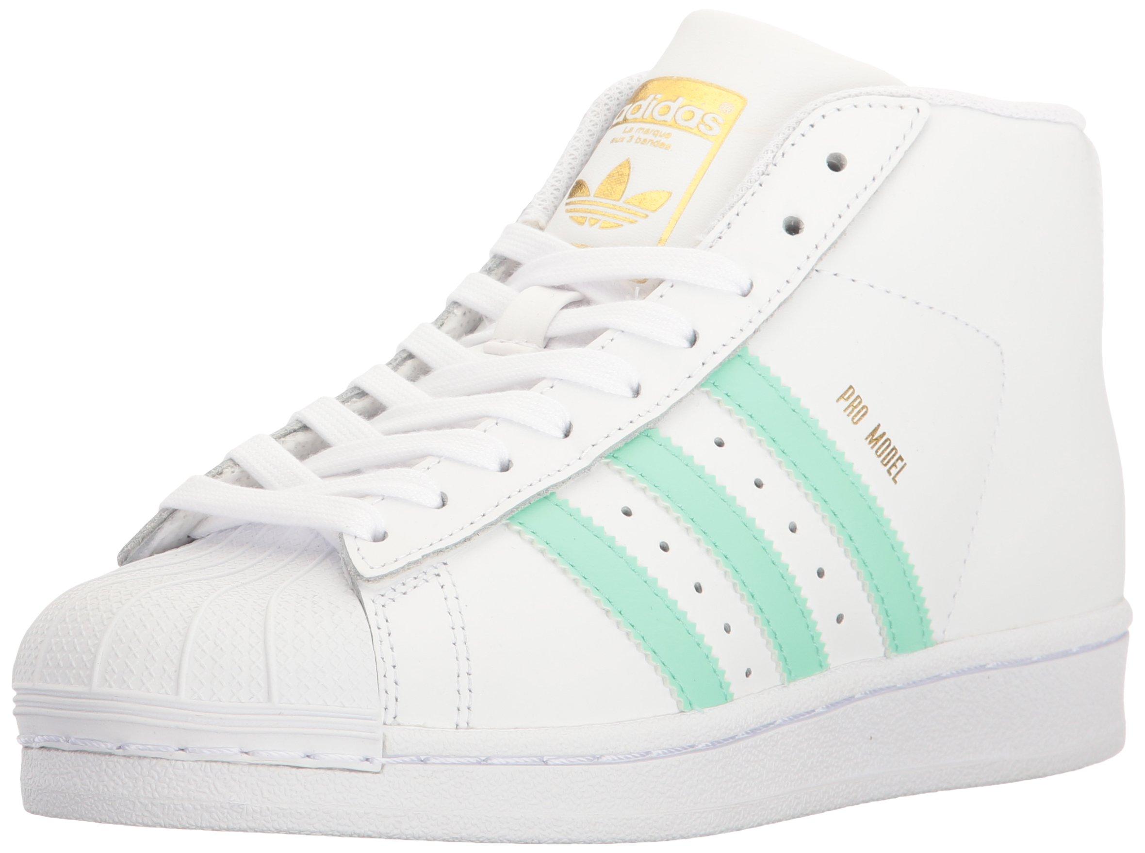 adidas Originals Boys' Pro Model J Sneaker, White/Easy Green Metallic/Gold, 4 M US Big Kid by adidas Originals