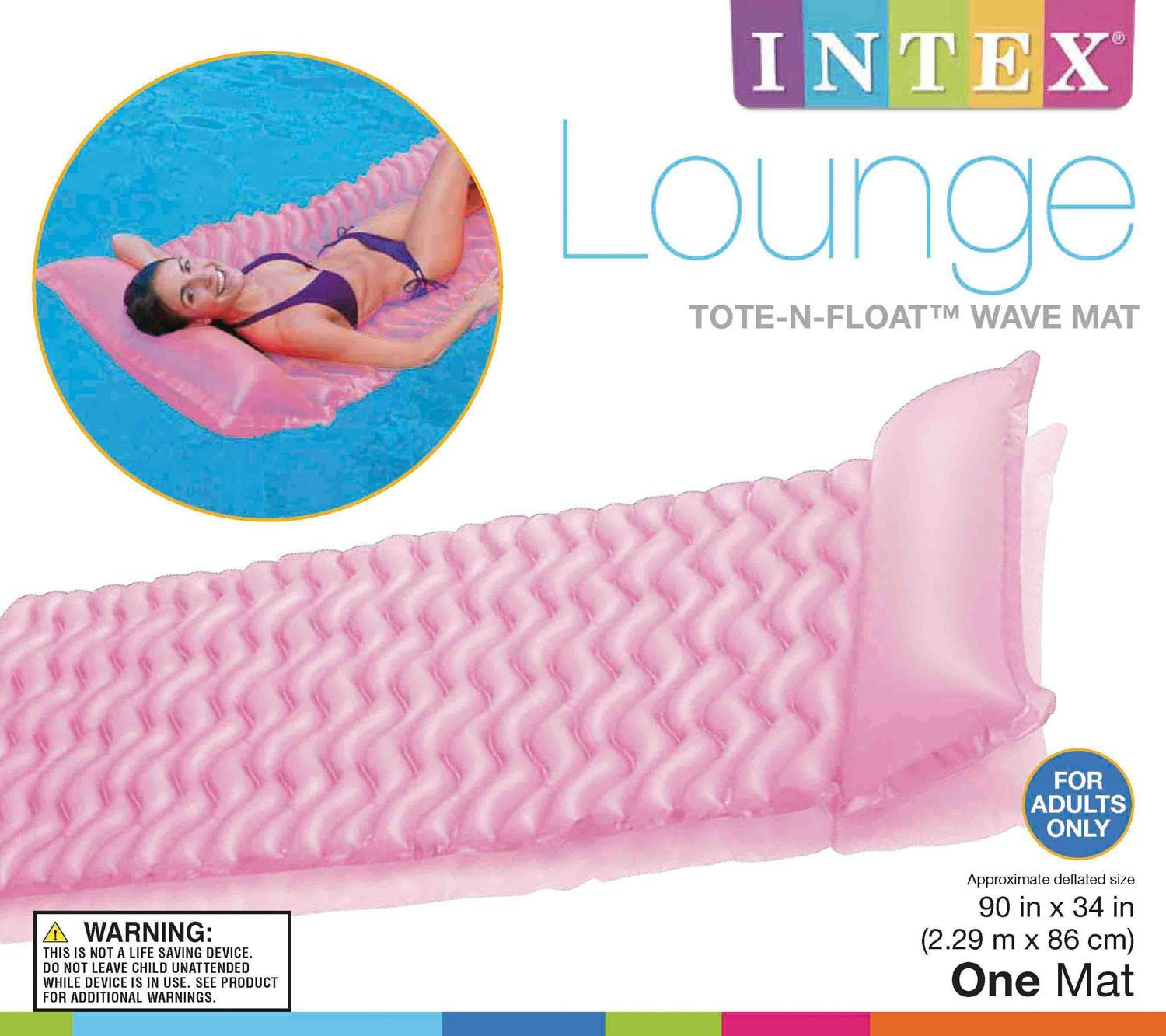 Intex Tote N Float Wave Mat Floating Pool Lounger with Headrest 3 Pack