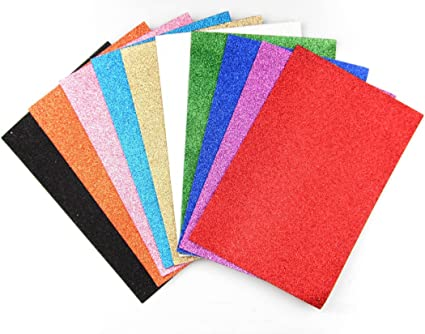 SBYURE EVA Glitter Foam Sheet,10 PCS Rainbow Foam Handicraft Sheets Self Adhesive Sticky 11.8 x 7.8 Inches Crafting Sponge for DIY Projects,Classroom Craft Activities DIY Cutters Art,10 Colors