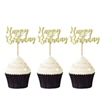 Pack of 24 Gold Happy Birthday Cupcake Toppers Party Cake Food Picks