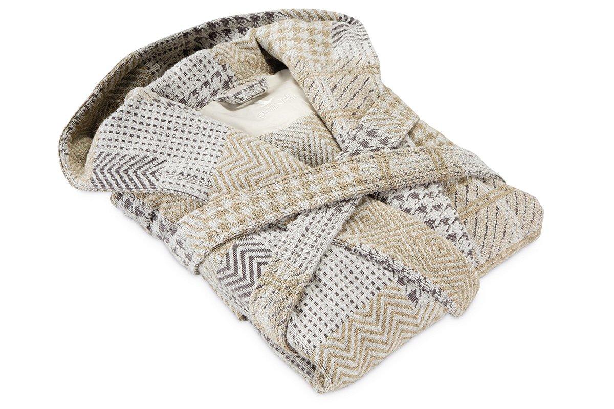 Möve Relax Kapuzenmantel Patchwork in Gr. Gr. Gr. S aus 100 % Baumwolle, nature   beige B06XYQMFWY Bademntel 0e1faf