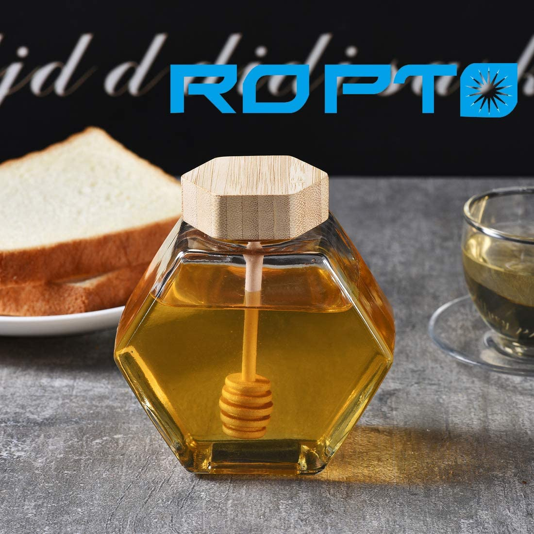 honeycomb Shape Honey Pot Jar with Dipper Heat-Resistant Glass Storage Container Honey Pot Glass Honey Jar with Dipper and Lid Cover for Home Kitchen