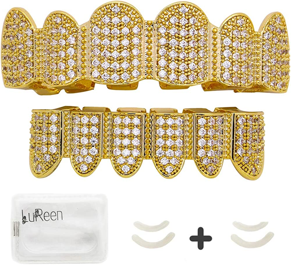 LuReen 18K Teeth Gold Grillz Pave CZ Top Bottom Grilla for Men Women Micropave Lab Simulated Diamonds Grillz+2 Extra Molding Bars