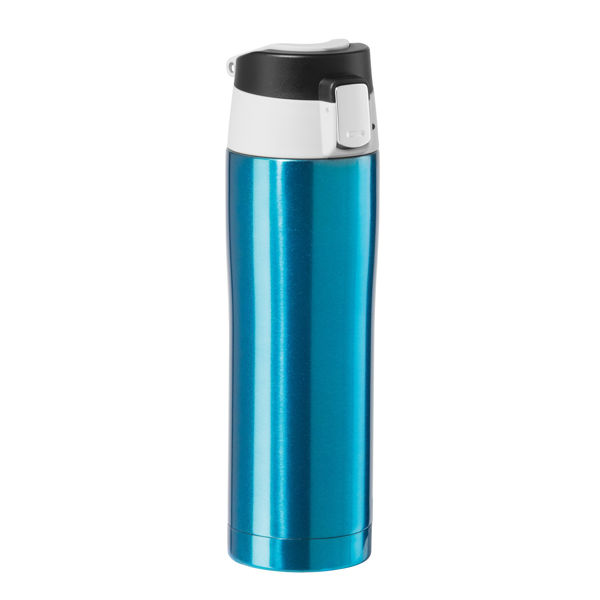 Oggi 8078.5 Double Wall Vacuum Sealed Stainless Steel Travel Mug with Flip-Open Locking Lid (0.5 Lt./16 Oz.)-Blue
