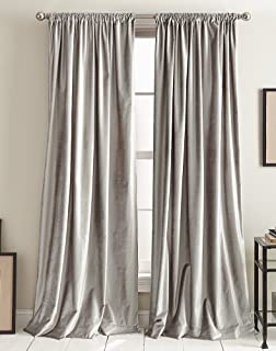 DKNY Modern Knotted Velvet Lined Curtain Panel Pair